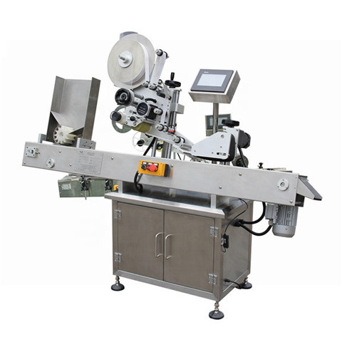 Automatic honey jar top side labeling machine sticker applicator...